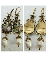 ALEXANDER MCQUEEN SCARAB ABALONE BEETLE EARRINGS, SIGNED/AUTHENTIC, NWOT  - $173.25