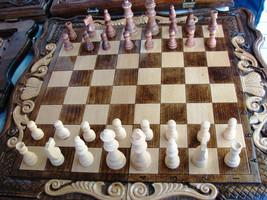 3 in 1 Armenian Backgammon + Chess + Сheckers Handmade Set Board Game Ha... - $109.00