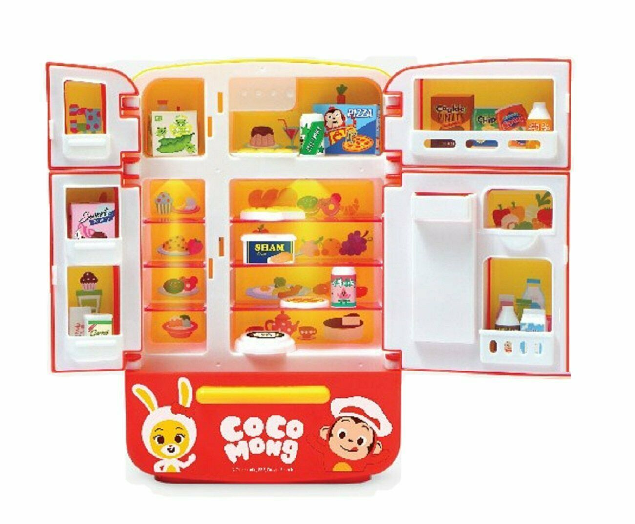 Zeus Toys Coco Mong Melody Light Chef Refrigerator with Drinks Kitchen Roleplay