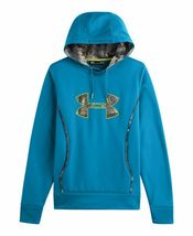 NEW UNDER ARMOUR WOMEN'S  STORM CALIBER BIG LOGO HOODIE PIRATE BLUE image 3
