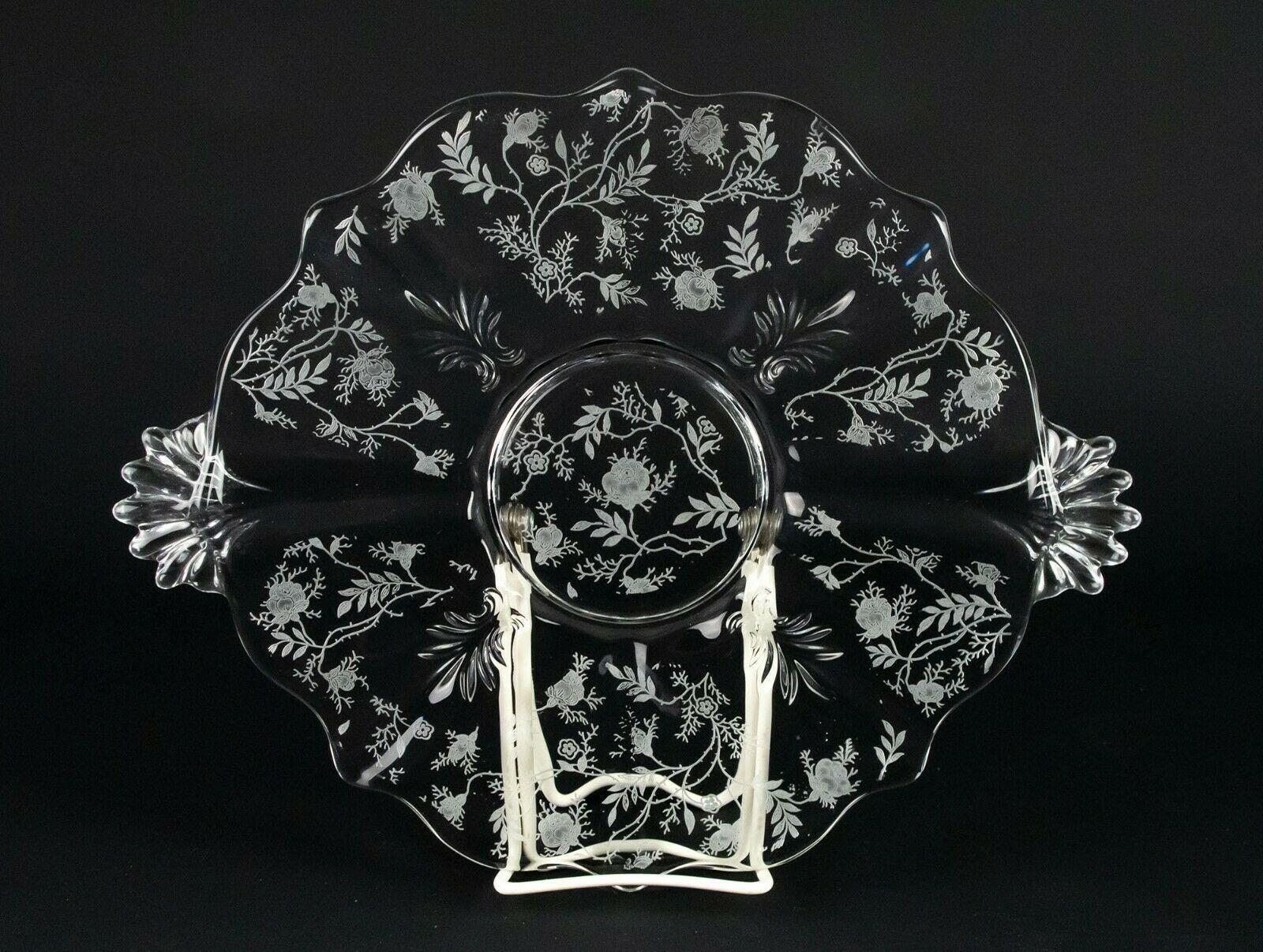 "Fostoria Chintz Handled Cake Plate, Vintage Elegant Etched Baroque 12 3/4"" - $19.60"