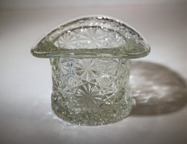 Vintage L.E. Smith Clear Glass Daisy and Button Top Hat Toothpick Trinke... - $14.00