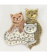 """Three Cats Pin Brooch TC Jewelry Tri Color 1.5"""" - $12.73"""