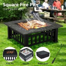 32''Outdoor Metal Firepit Backyard Patio Garden Square Stove Fire Pit W/... - $110.27