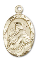 Saint Anthony of Padua 3/4 x 3/8 Inch 14kt Gold Medal - $599.99