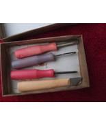 Vintage Russian Soviet USSR Children Wood Carving Engraving Knife Chise Set - $17.81