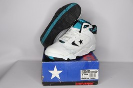 Vintage 90s New Converse Youth 3 Power Game Lea Mid Basketball Shoes Whi... - $50.44