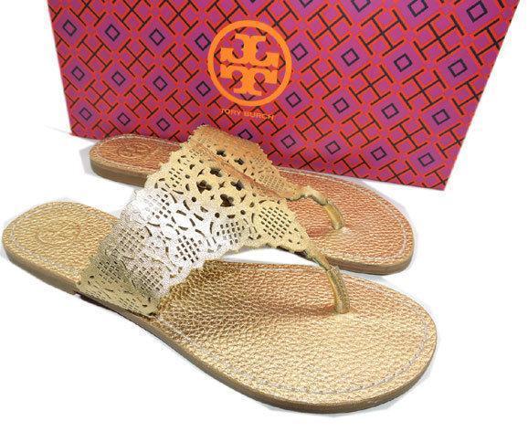 4ebe832539d ... Tory Burch Roselle laser-cut Gold Leather Sandals Flat Shoe Flip Flop 7  Slides ...
