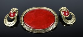 Vintage Red / Gold Tone Unsigned Fashion Costume Jewelry Brooch Pin Earr... - $18.88