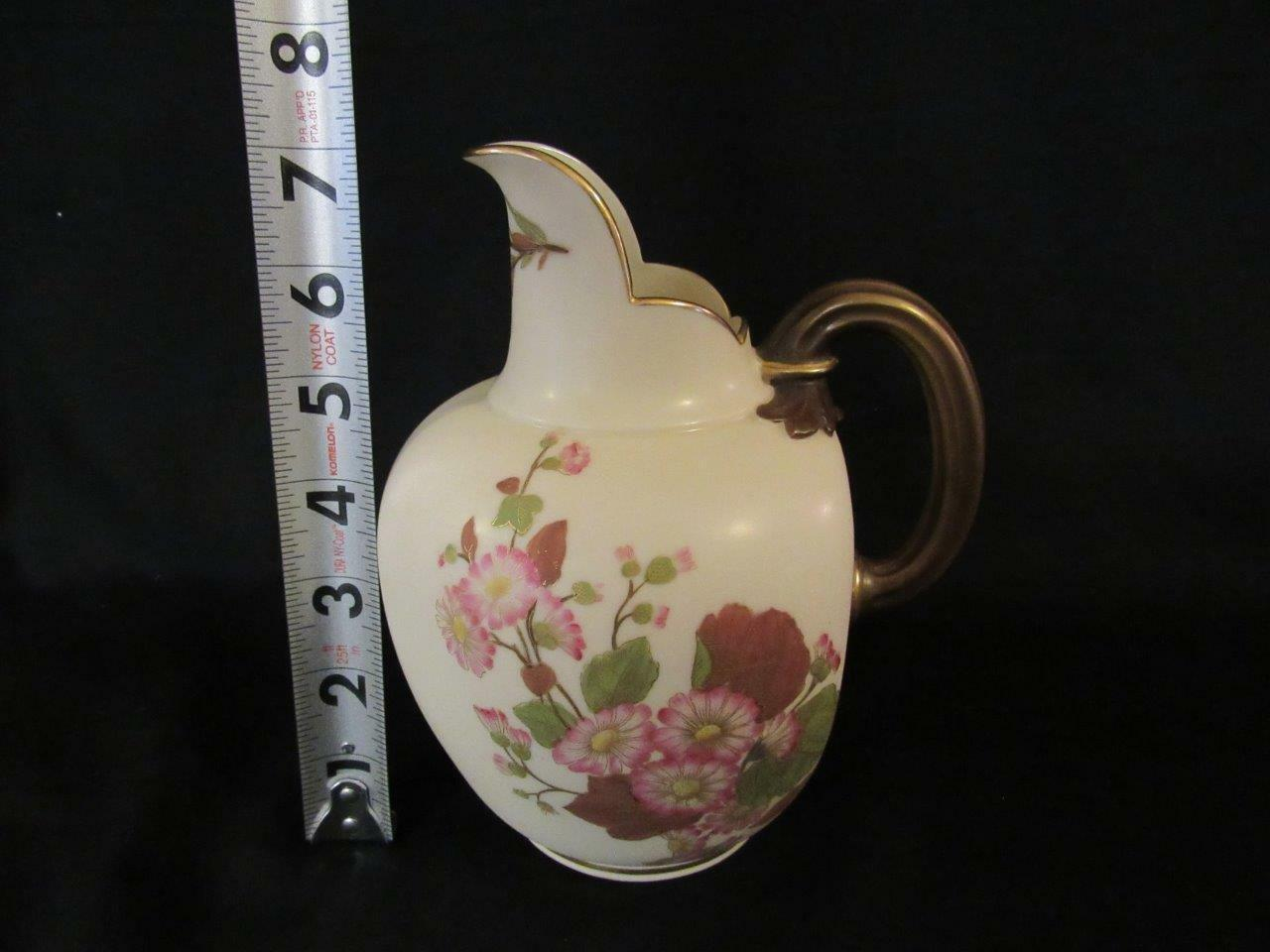 """Royal Worcester Blush Ivory 7"""" Pitcher 1880 Hand Painted Pink Daisies Flat Back - $75.99"""