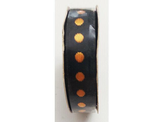 """Hobby Lobby Ribbon Boutique Black with Orange Polka Dots Ribbon, 3/8"""" x 15 Ft"""