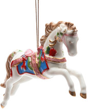 StealStreet SS-CG-10682, 4.88 Inch White Painted Carousel Horse Christma... - $39.96