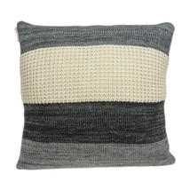 """20"""" x 0.5"""" x 20"""" Transitional Cream And Gray Cotton Pillow Cover - £42.24 GBP"""