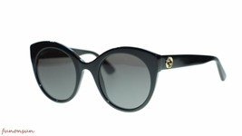 Gucci Women Sunglasses GG0028S 001 Black Gray Lens 52mm Authentic - $193.03