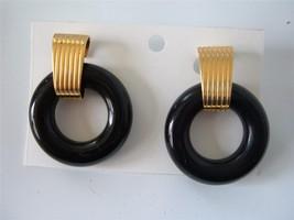 Vintage NAPIER Black Lucite Doorknocker Earrings Gold tone Bold Clip - $19.75