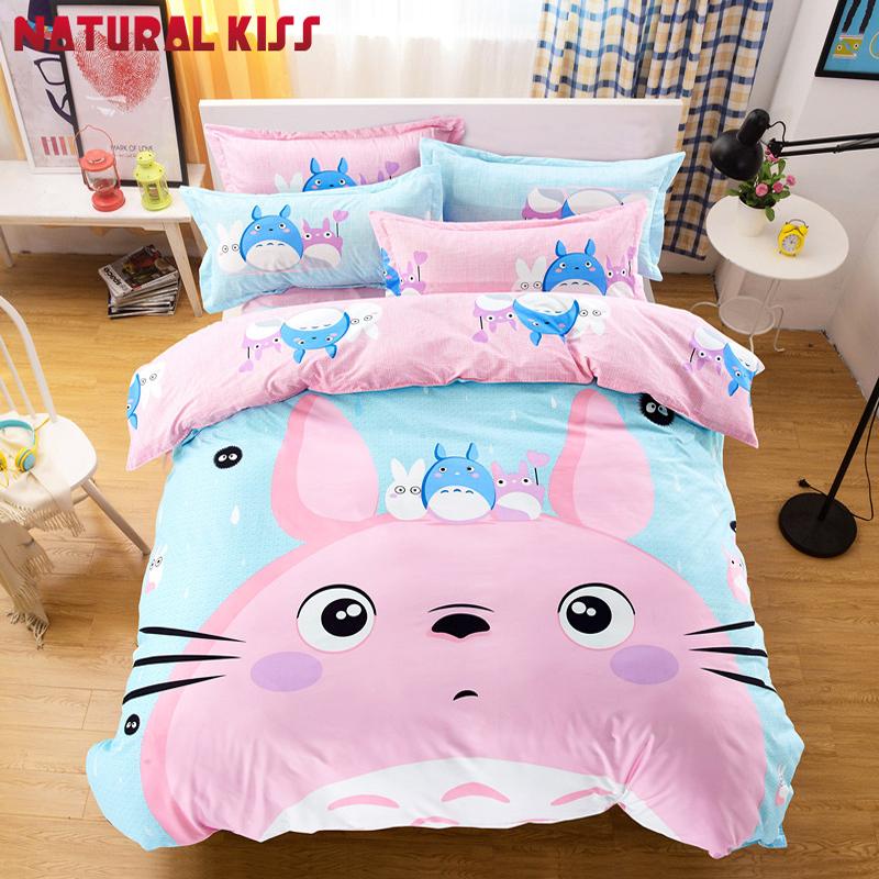 Cute-Kawaii-bedding-set-Pink-Totoro-boys-girls-quilt-duvet-cover-bed-sheet-carto for sale  USA