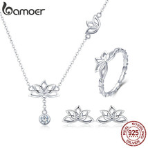 BAMOER Elegant 925 Sterling Silver Lotus Flower Earrings & Necklaces Pen... - $29.01