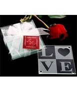 LOVE Glass Coaster Gift Set with Ribbon and Thank You Tag - Set of 25 - $127.88