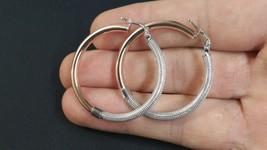 Fancy Two-Tone Round 925 Sterling Silver Hoop Earrings 37mm - $52.45+