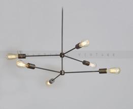 6 Arms Brass Light Fixture - Mid century modern brass chandelier Antique... - £171.41 GBP