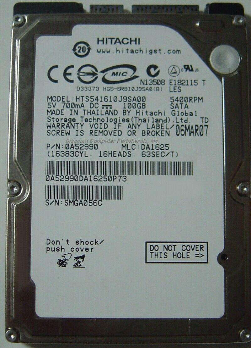 """NEW HTS541610J9SA00 100GB Hitachi SATA 2.5"""" 9.5mm hard drive Free US Shipping"""