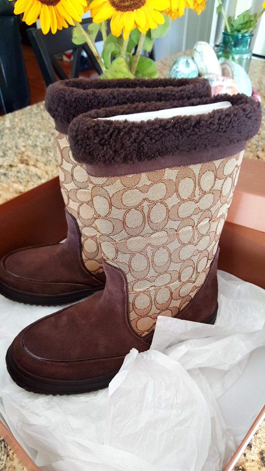 Coach Sherman Sig Suede/Sig C Chestnut/Khaki Cold Weather Boots-NIB 7M image 6