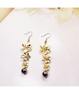 Gold Plumeria Pearl Earrings - $22.00