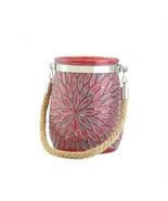 Red Flower Design Glass Jar Candleholder - $11.33