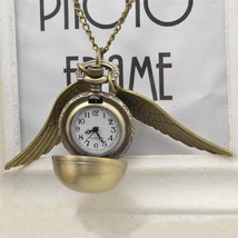 Mini Harry Potter Silver Snitch Ball Pocket Watch Necklace Chain Pendant... - $7.69