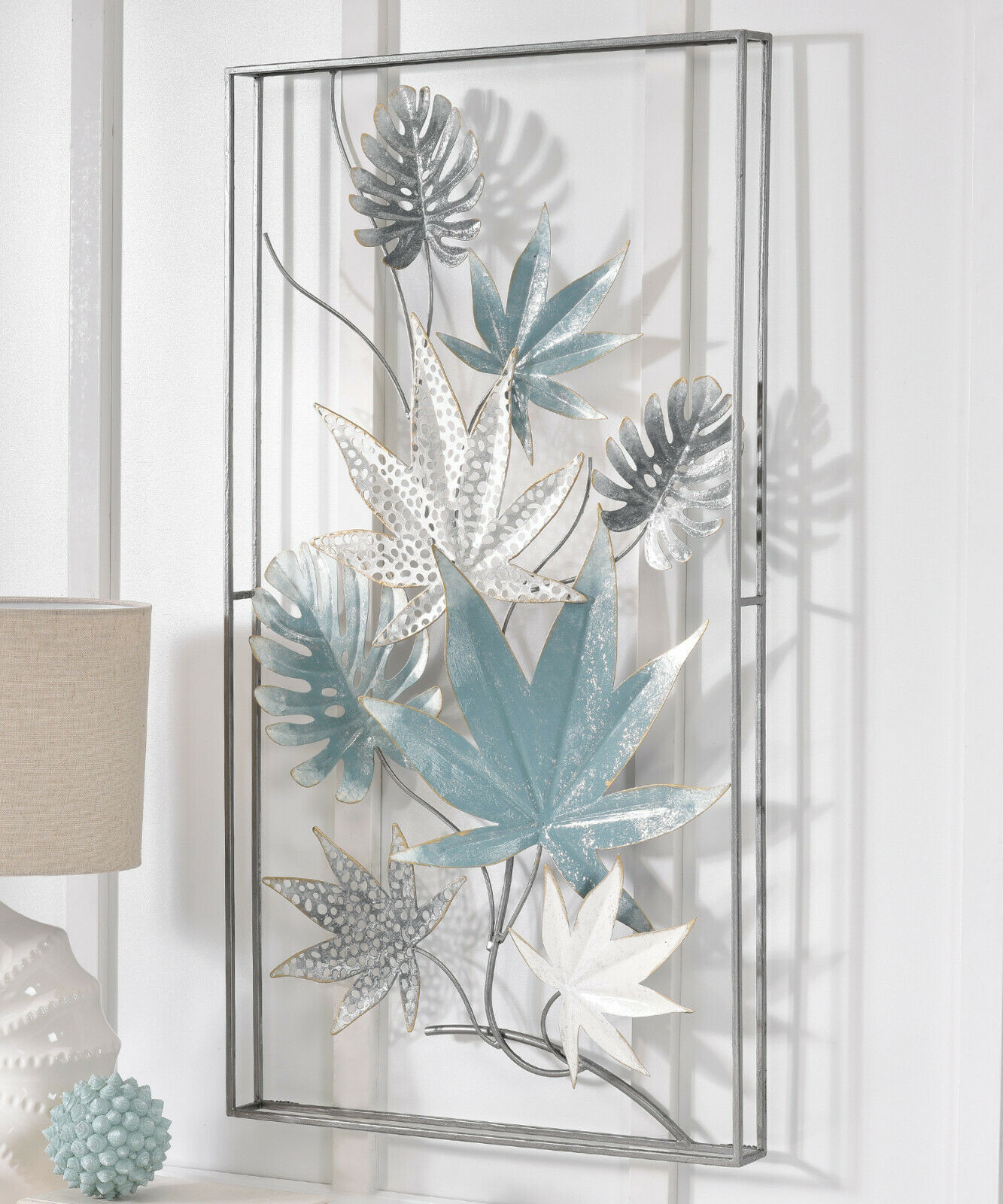 "35"" High Blue Grey & White Leaves Design Inside Black 3D Metal Frame Wall Decor"