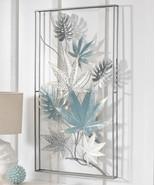 "35"" High Blue Grey & White Leaves Design Inside Black  3D Metal Frame - $168.29"