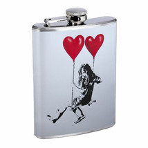 Heart Swing Girl Em1 Flask 8oz Stainless Steel Hip Drinking Whiskey - $13.81