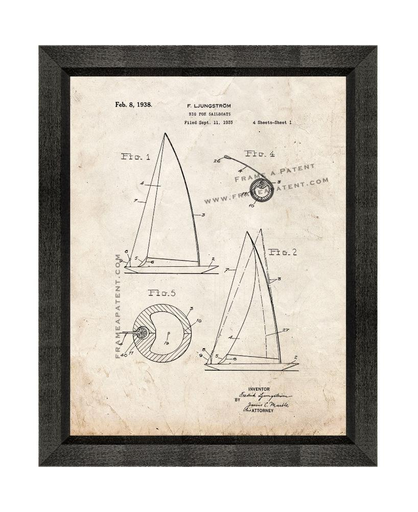 Primary image for Rig For Sailboats Patent Print Old Look with Beveled Wood Frame
