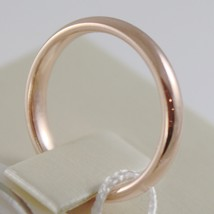 18K ROSE GOLD WEDDING BAND UNOAERRE COMFORT RING MARRIAGE 3 MM, MADE IN ITALY image 2