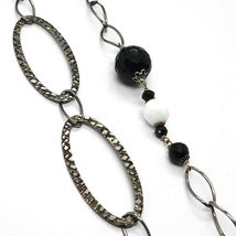 Necklace Silver 925 Burnished,Onyx,Spinel,Length 100 cm, Chain Oval image 3