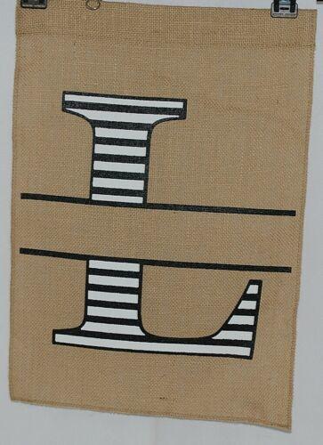 Kate Winston Brand Brown Burlap Monogram Black And White L Garden Flag