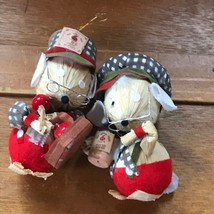 Vintage Kurt S. Adler Pair of Corn Husk Christmas Mouse Couple with Appl... - $10.39