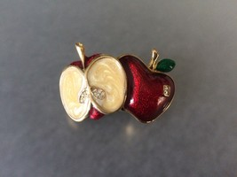 CUTE Vintage Enamel Cut up Apple Brooch Pin w rhinestones  - $6.99