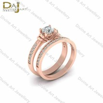 Heart Base 2Pc Engagement Ring Band Set White Moissanite Matching Rings ... - £398.32 GBP