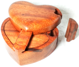Proposal Gift For Her Heart Box Jewelry Organizer Trinket Wood Box Puzzl... - $39.99+