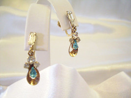 JMS Aquamarine Rhinestones Gold Filled Screwback Earrings Dangle Vintage... - $18.80