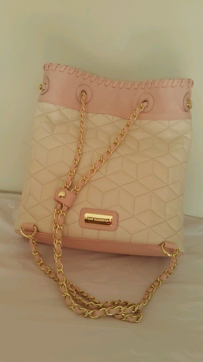 NWT Big Buddha woman's purse handbag backpack style. Gold chain cream pink blush image 7