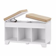Storage Bench Unit White 3 Cube Split Top Seat Shoe Entryway Wood Furnit... - £95.62 GBP