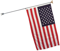 "Steel Flag Pole & Bracket, 68"" Heavy Duty Indoor / Outdoor Bald Eagle Cap - $19.99"