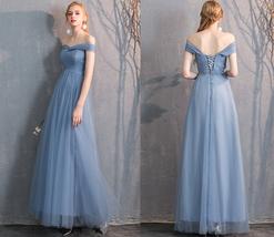 Bridesmaid Dress Off Shoulder Sweetheart Tulle Empire Dress Floor Length Wedding image 3