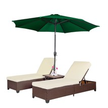 4 PC Outdoor Patio Wicker Rattan Chaise Lounge Chair w/ 9' Adjustable Um... - $425.99