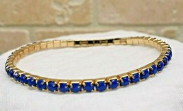 Single Line Stretch Bracelet Flexible Elastic BLUE Gemstone Fashion Jewe... - $7.50