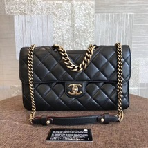 100% AUTH CHANEL BLACK PERFECT EDGE LARGE QUILTED LAMBSKIN 2-WAY FLAP BAG GHW