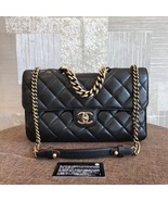 100% AUTH CHANEL BLACK PERFECT EDGE LARGE QUILTED LAMBSKIN 2-WAY FLAP BAG GHW - $3,199.99