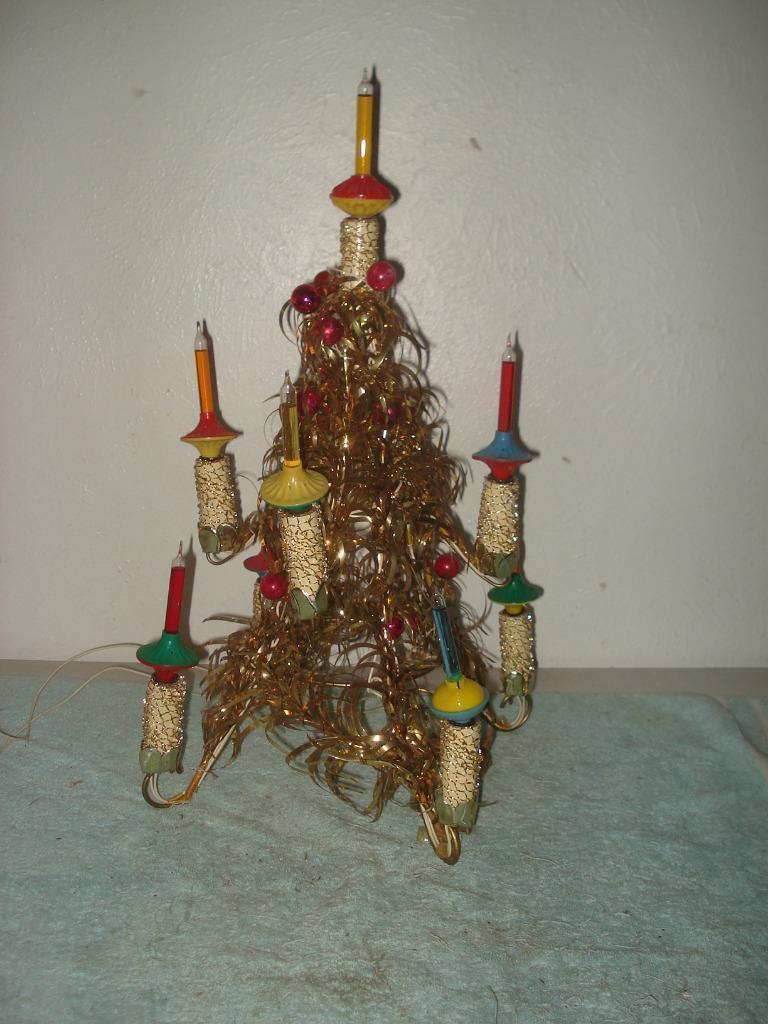 vintage 1950s bubble lights tin foil christmas tree metal c 6